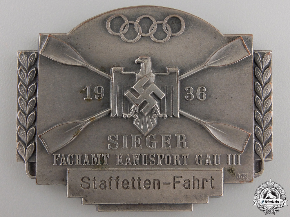 A 1936 Olympic Canoeing Event Award