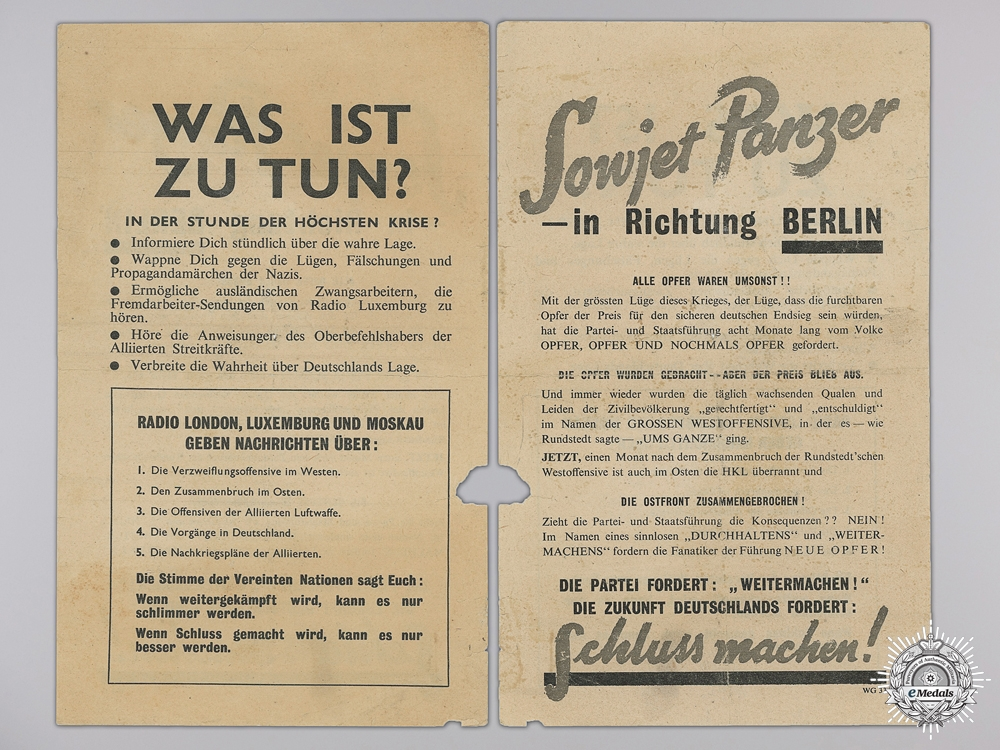 A 1945 German Resistance Anti Government Propaganda Leaflet