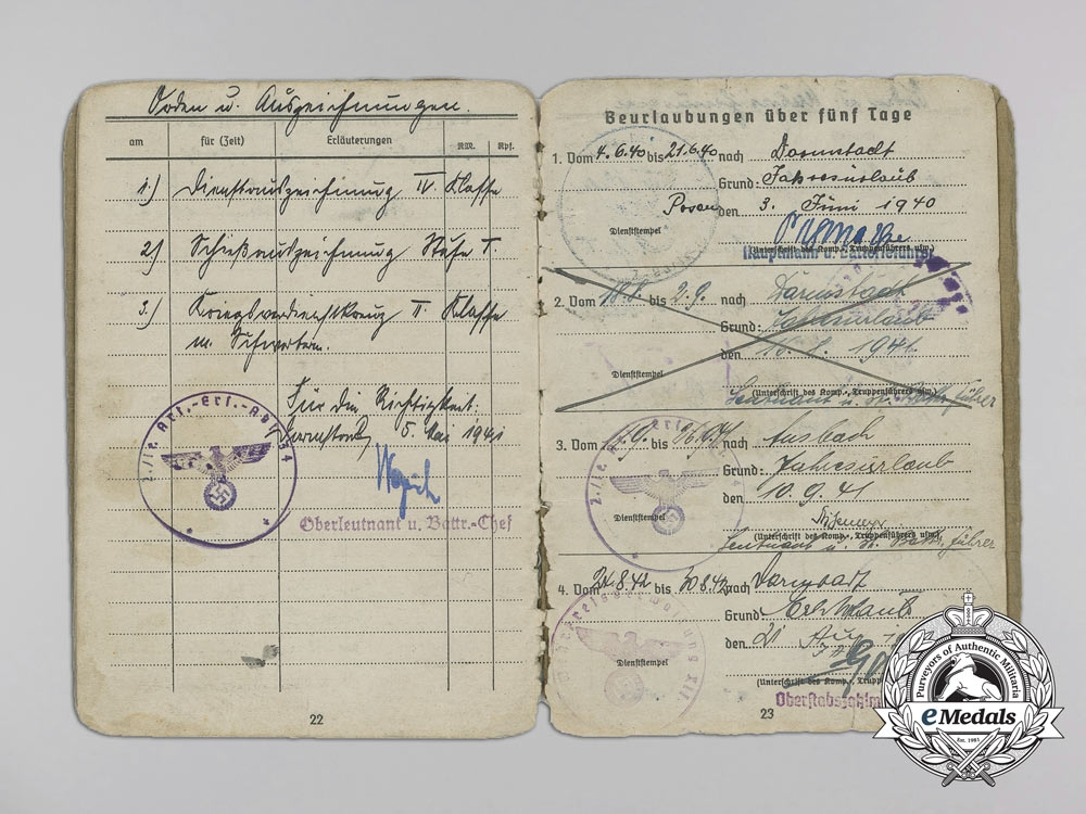 A Soldbuch & Documents to the 1st Battery of the 34th Regiment in France
