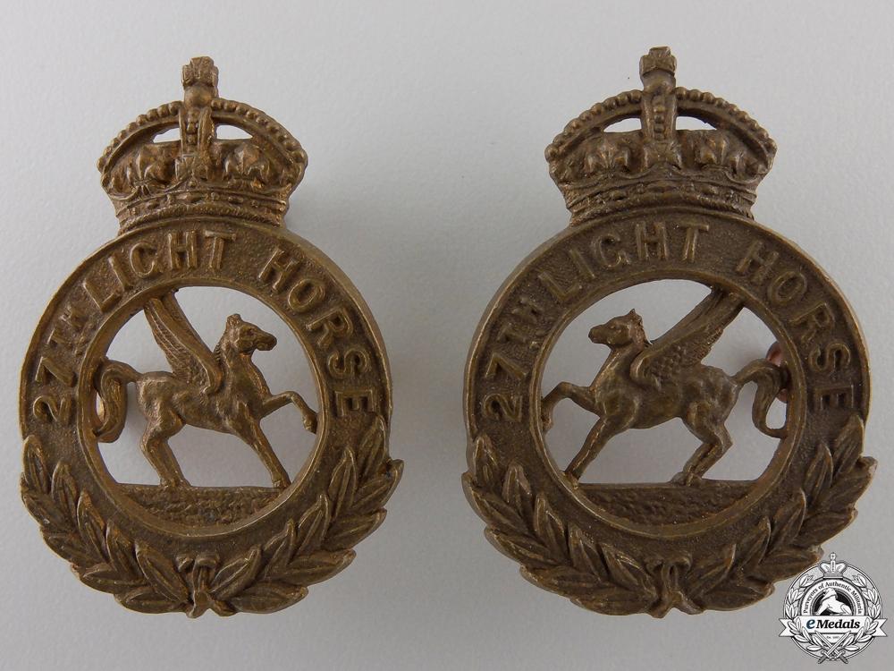 A 27th Light Horse Saskatchewan Militia Collar Badge Pair