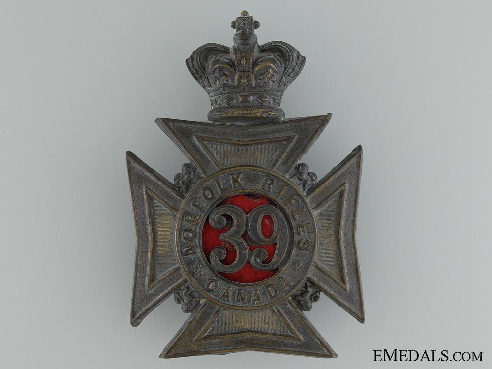 A 39th Nortfolk Rifles Helmet Plate