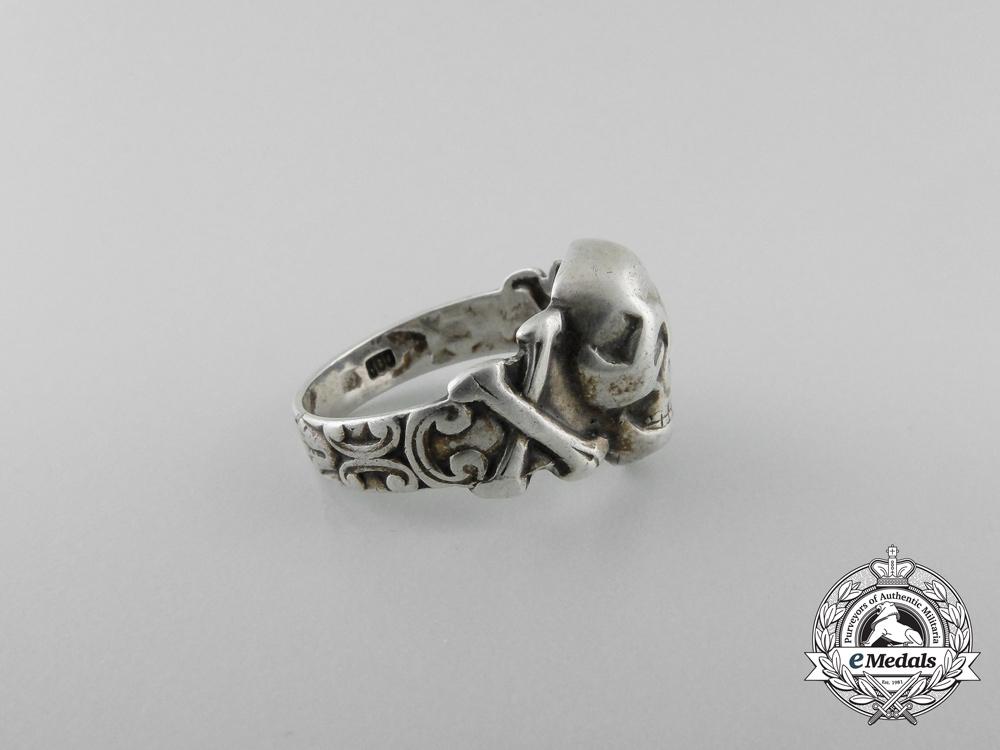 A German Silver Skull Ring; 800 marked