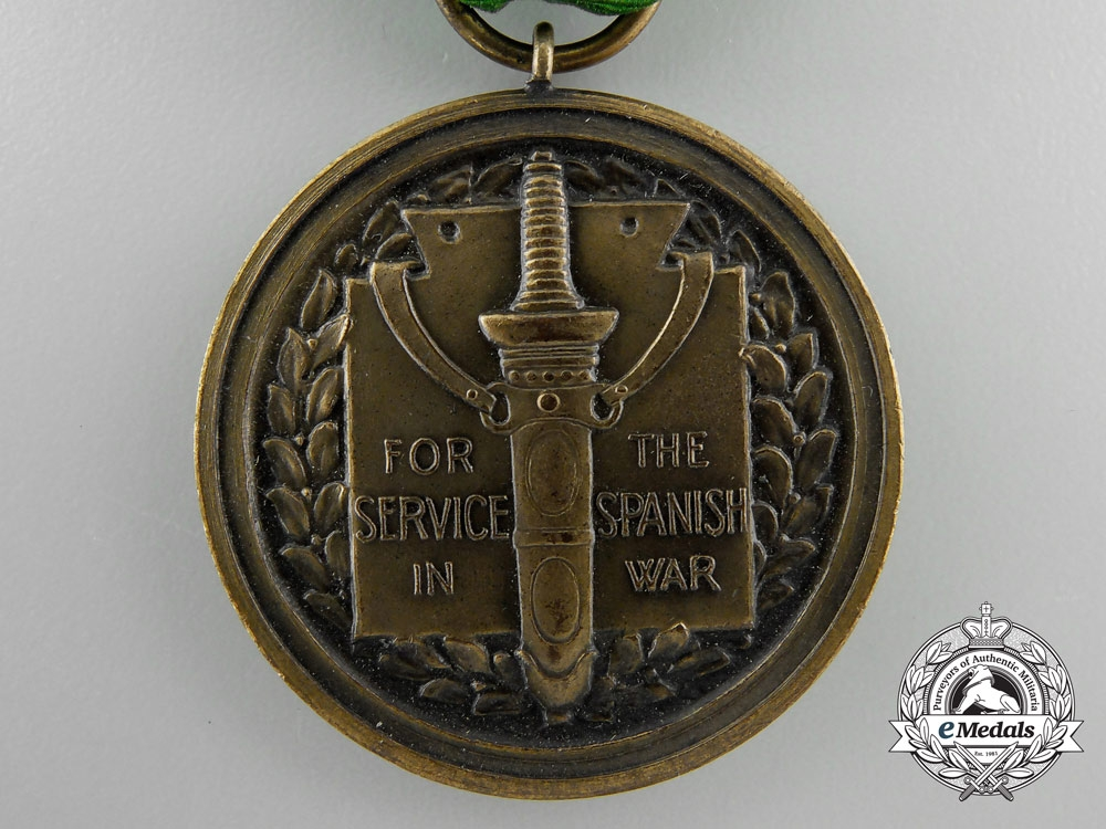 An American Army Spanish War Service Medal with Box of Issue