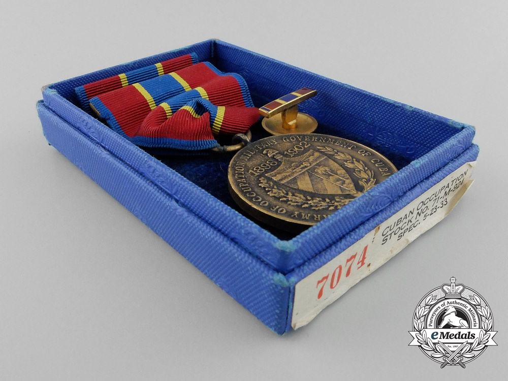 An American Army of Cuban Occupation Medal 1898-1902 with Box of Issue