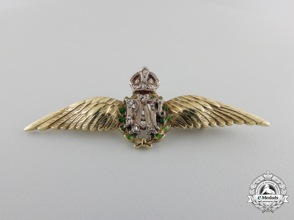 United Kingdom. A Gold Royal Air Force (RAF) Sweetheart Wing with Case