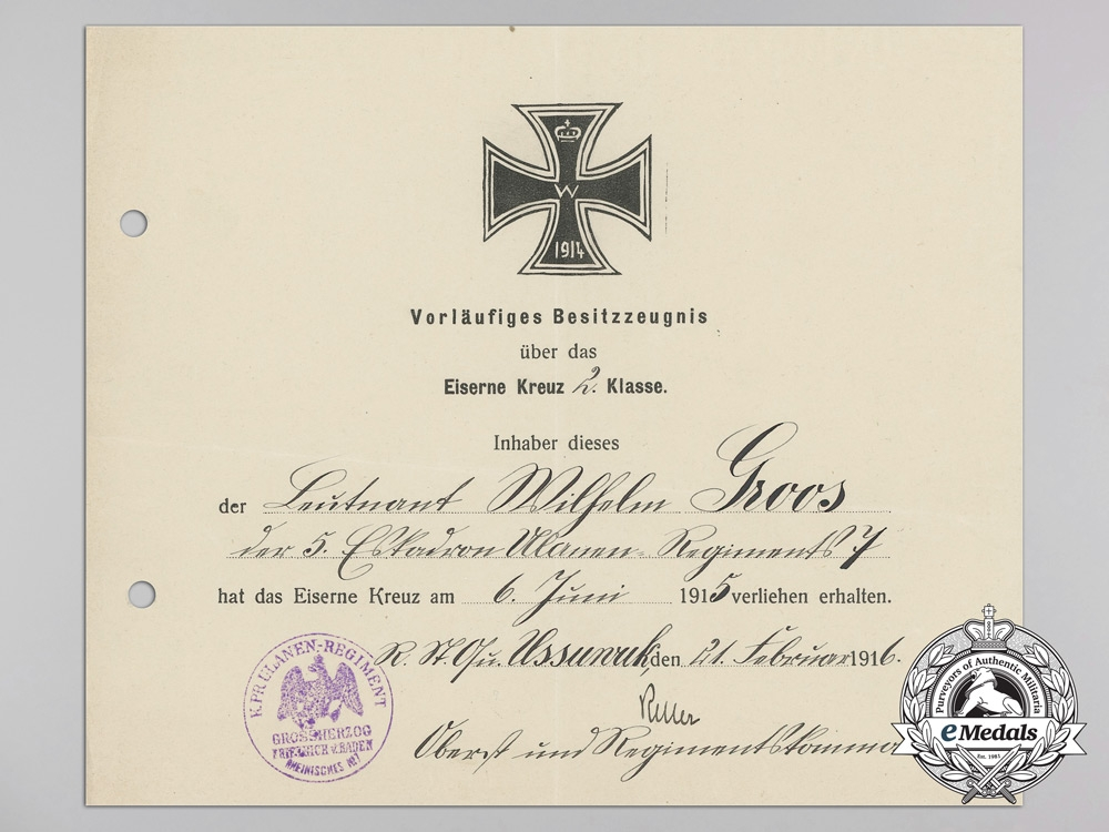 """An Honour Goblet Group to Leutnant Gisbert Groos of von Richthofen's """"Flying Circus"""""""