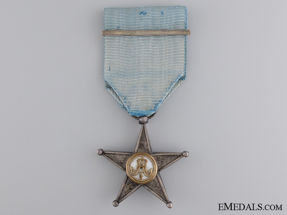 A Belgian Silver Colonial Service Star; Second Class, Type II