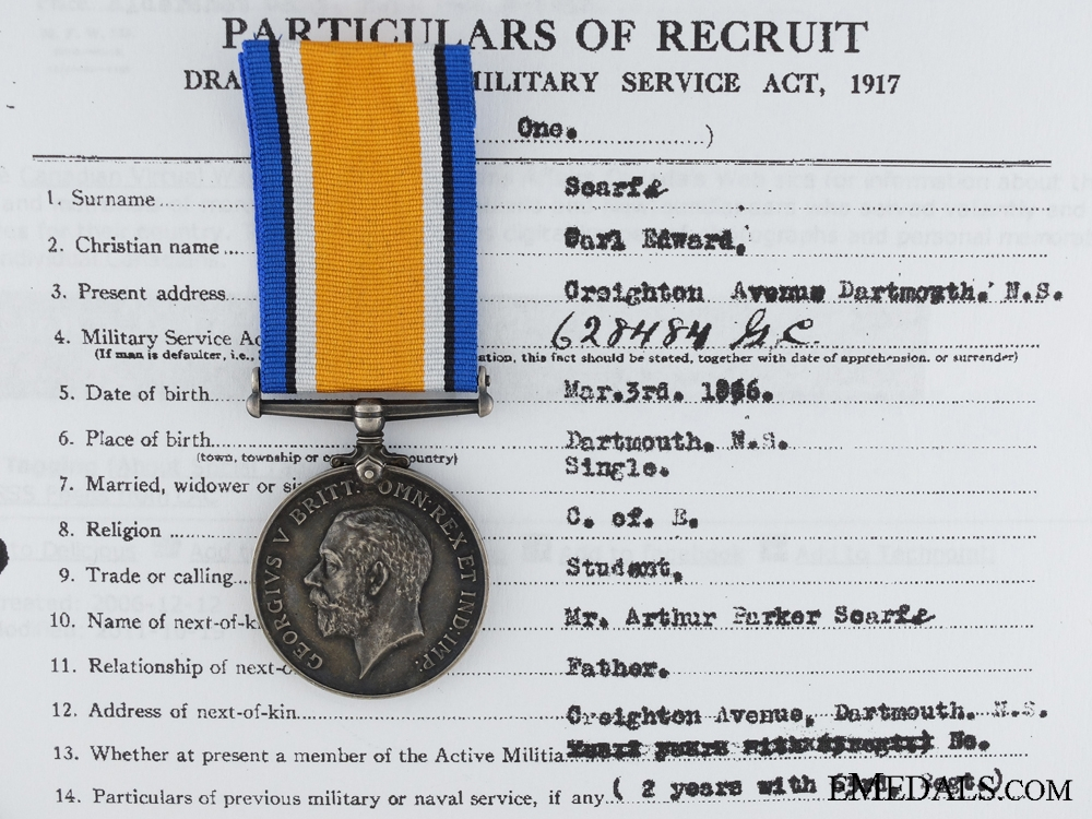 A British War Medal to the 6th Canadian Mounted Rifles