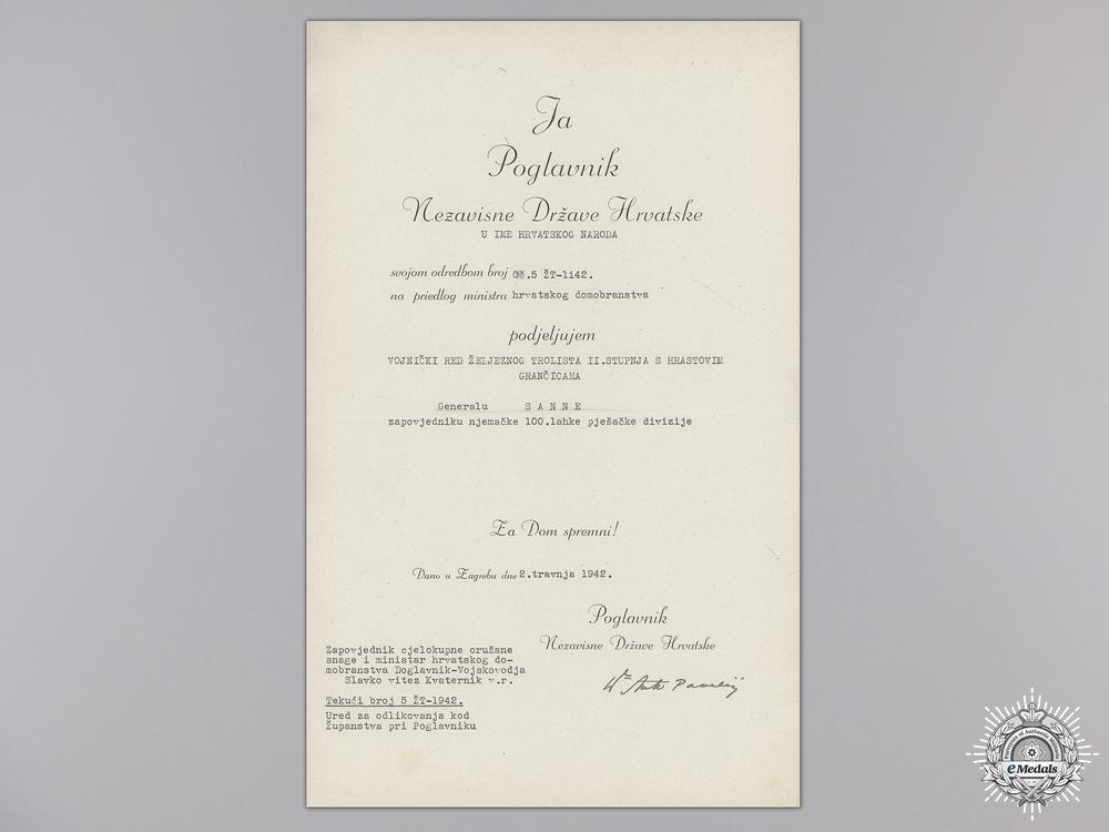 A Croatian Iron Trefoil Award Document to German General Sanne