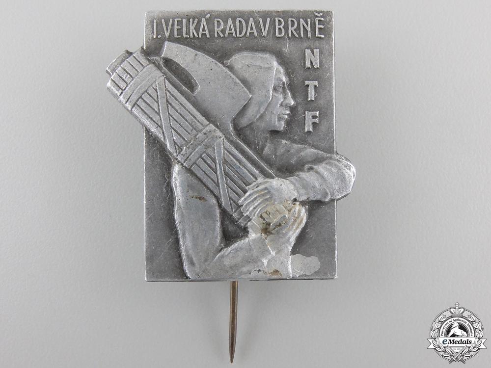 A Czechoslovakian National Fascist Camp (NTF) at Brno Badge
