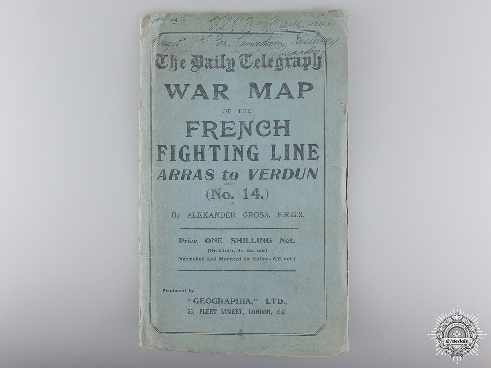 A Daily Telegraph War Map No. 14 Named to Lieutenant McNair