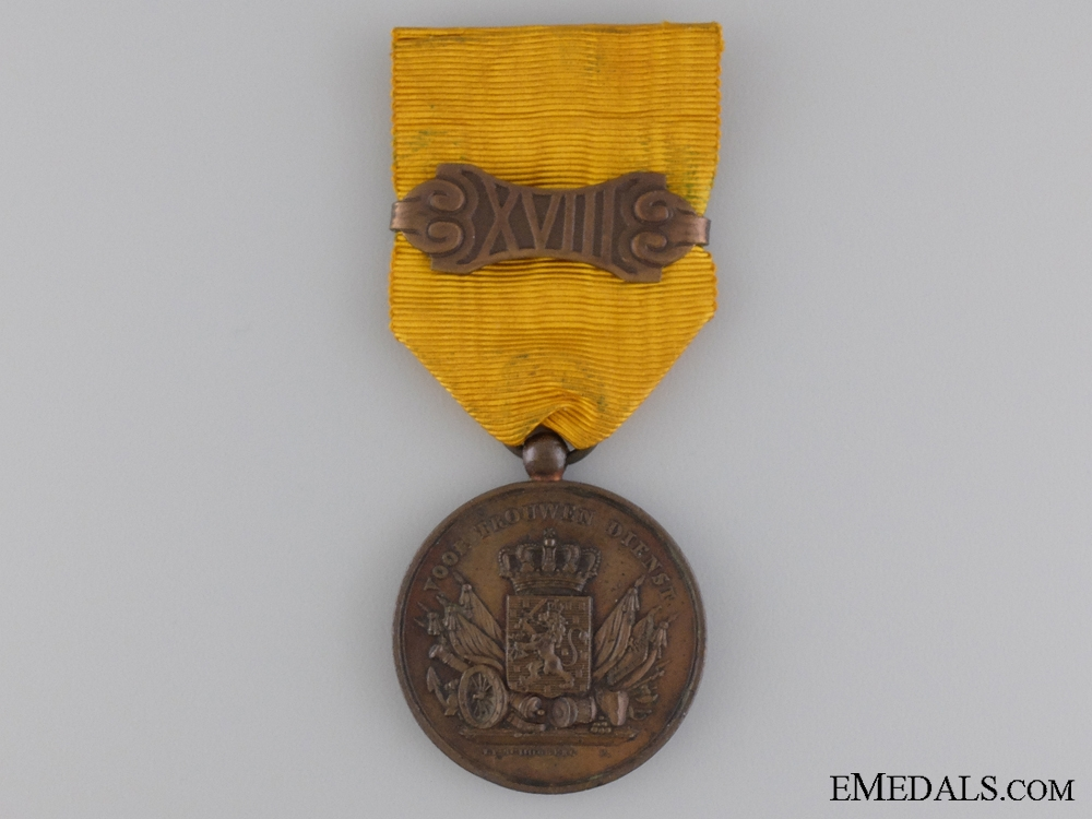 A Dutch Army Long Service Medal; 12 Years Service with 18 Years Clasp