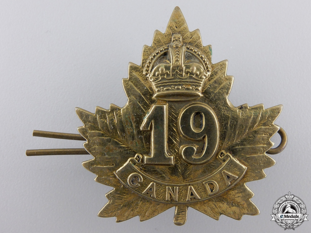 A First War 19th Canadian Infantry Battalion Cap Badge by J.R. Gaunt