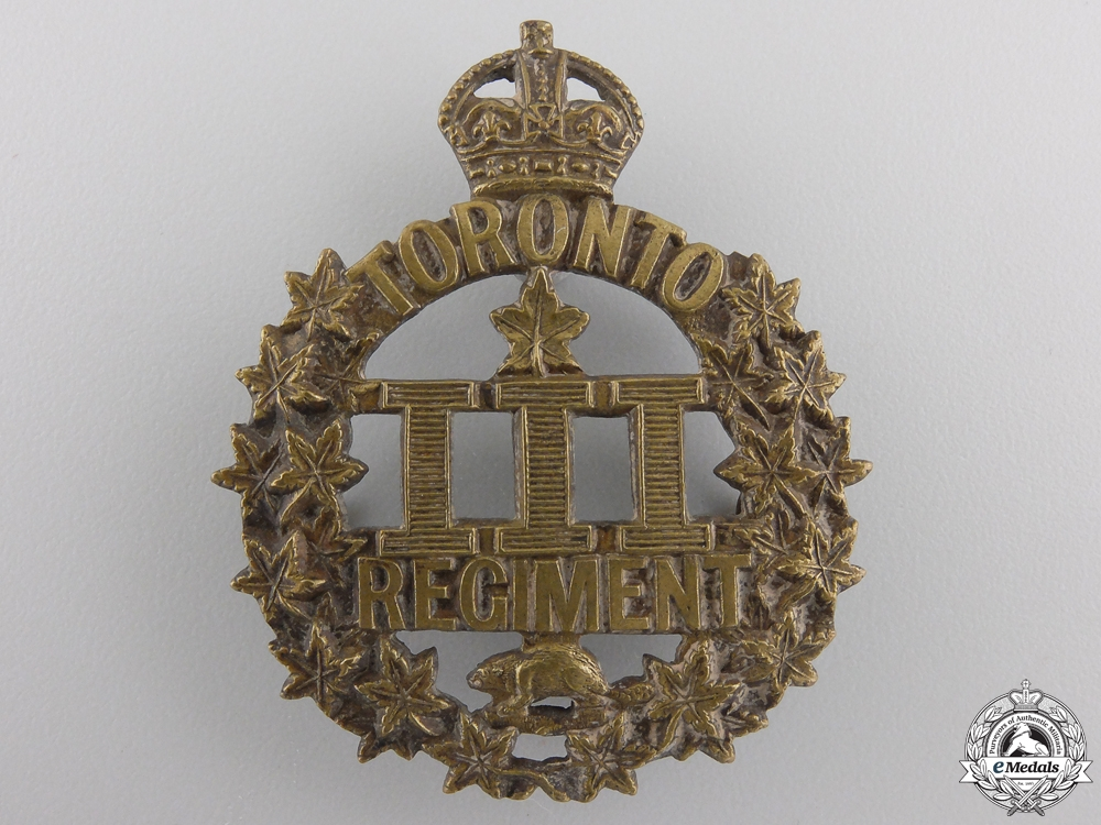 "A First War 3rd Infantry Battalion ""Toronto Regiment"" Cap Badge"