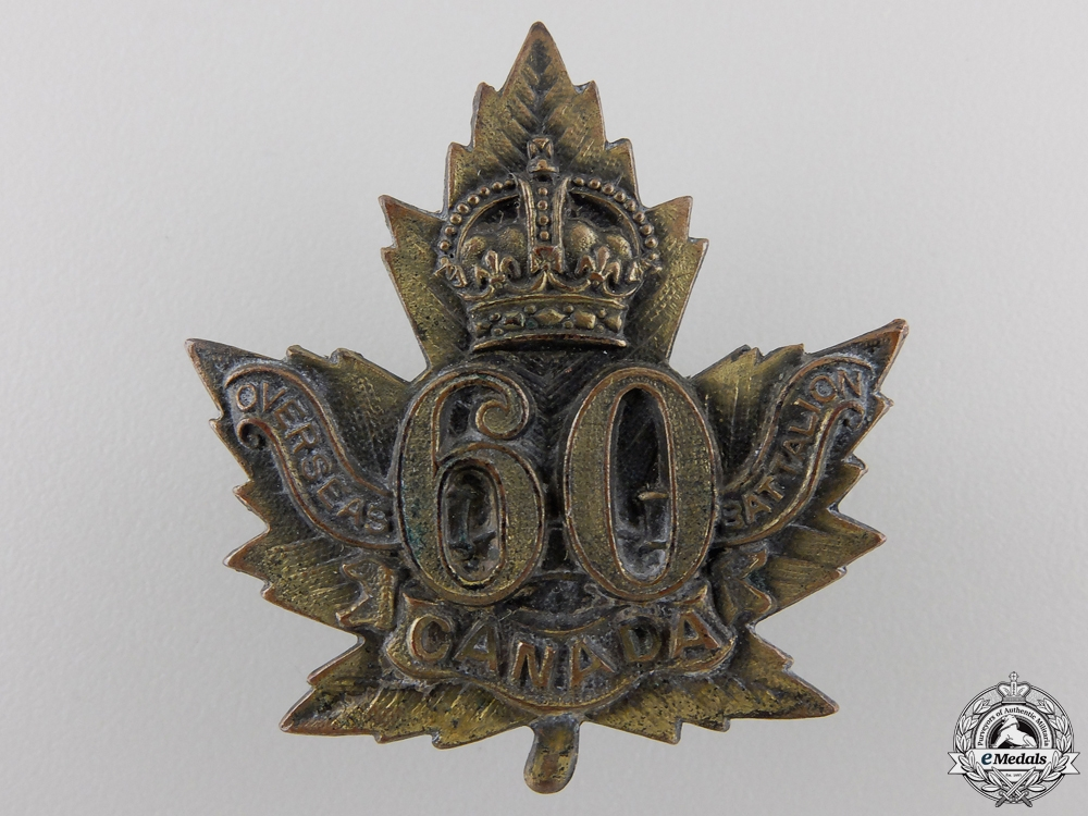 A First War 60th Infantry Battalion Cap Badge