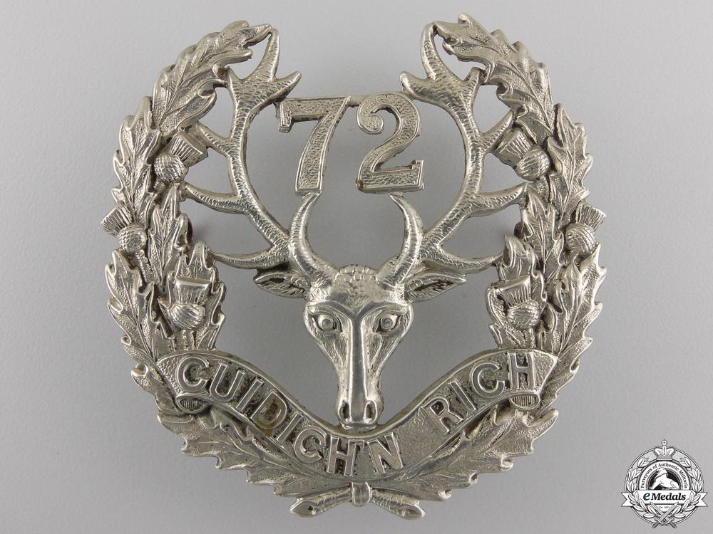 "A First War 72nd Battalion ""Seaforth Highlanders"" Glengarry Badge"