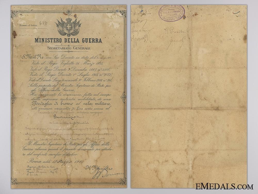 A First War Al Valore Militarie Award Document