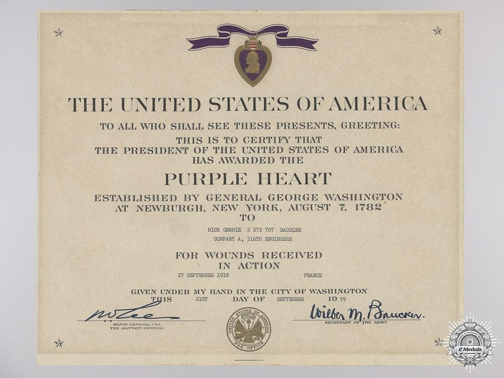 A First War American Purple Heart Award Document