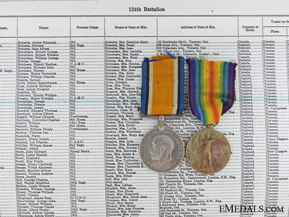 A First War Medal Pair to the Canadian Pioneer Battalion