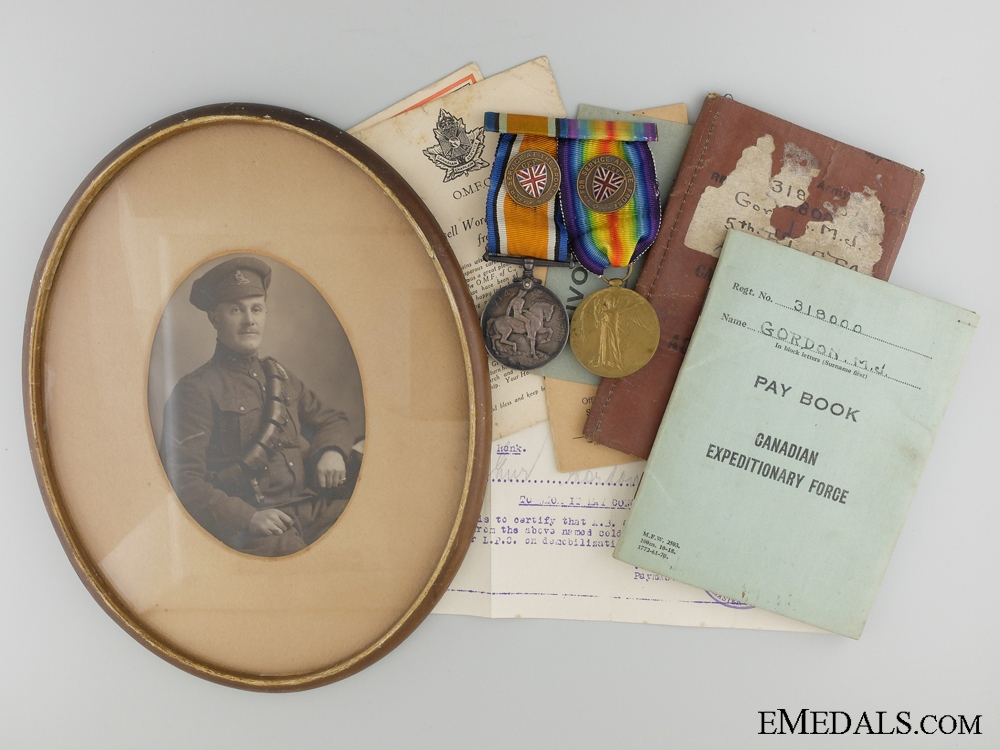 A First War Medal Pair, Portrait, and Documents to the C.F.A.