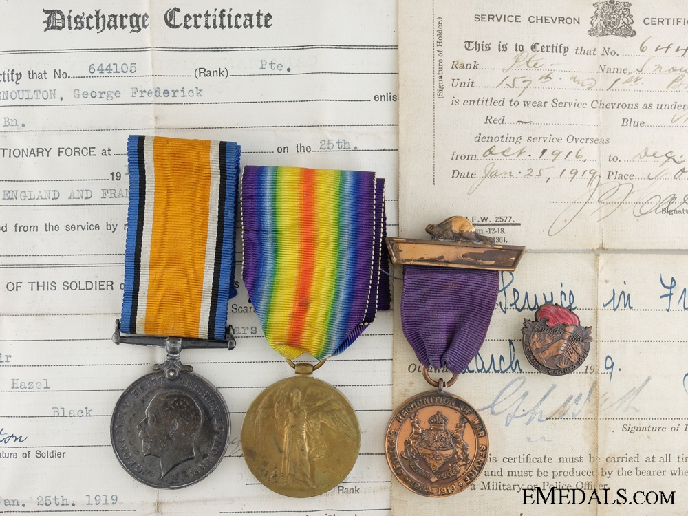 A First War Medal Group to the 1st Canadian Infantry Battalion