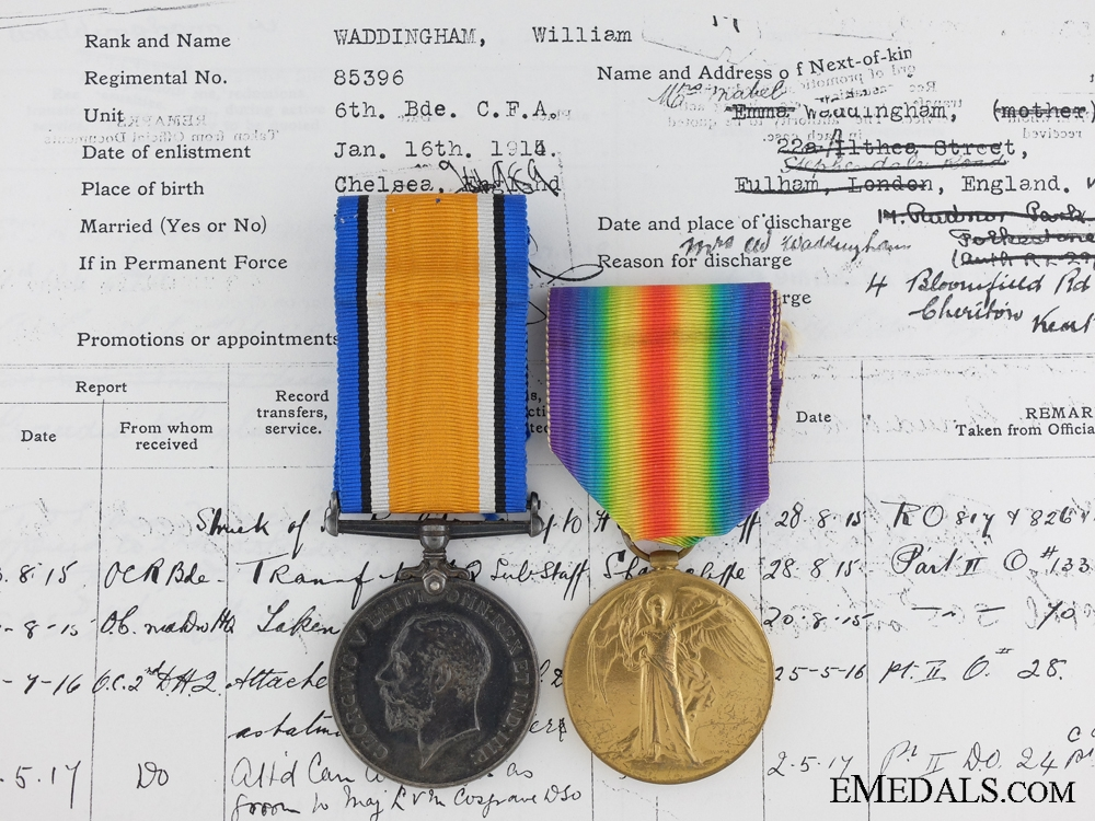 A First War Medal Pair to the Batman of Commanding Officer C.F.A.
