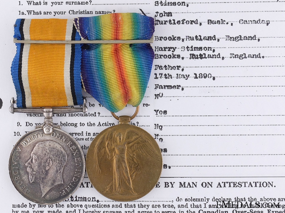 A First War Medal Pair to the 28th Canadian Infantry