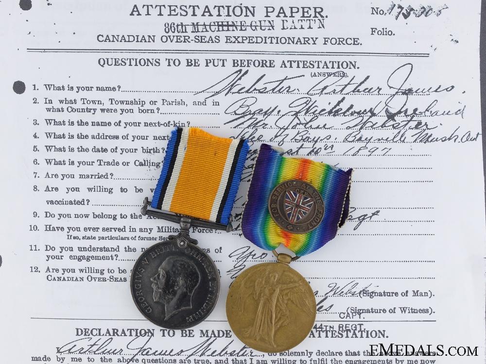 A First War Pair to the Canadian Machine Gun Brigade CEF