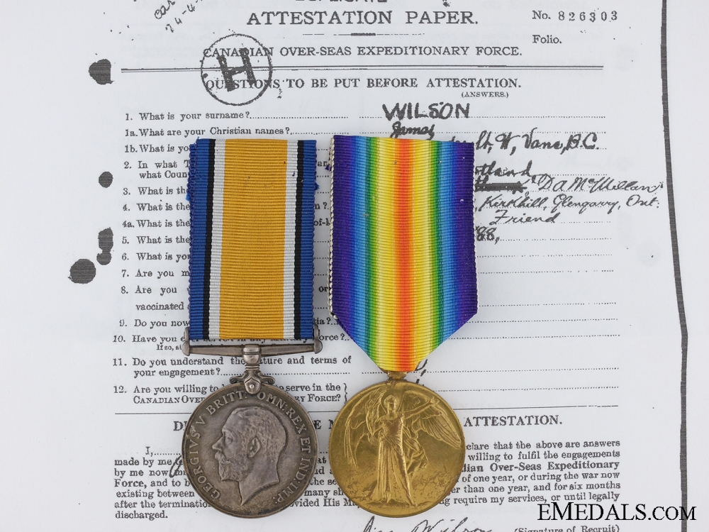 A First War Pair to the 2nd Canadian Mounted Rifles KIA