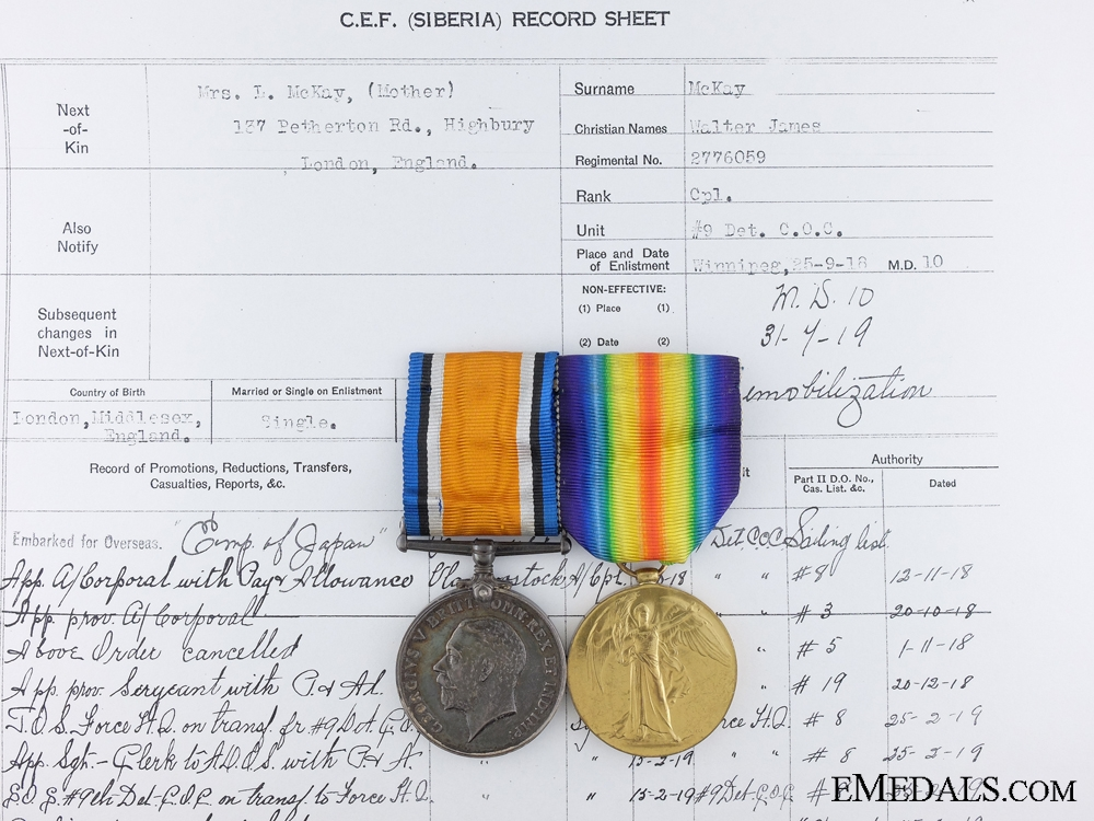 A First War Pair to the Canadian Siberian Expeditionary Force