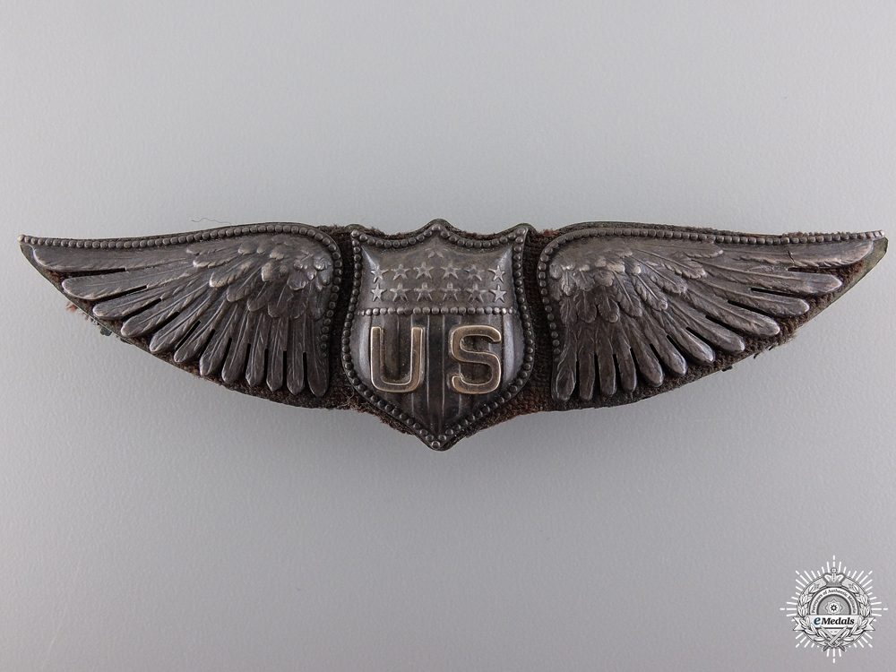 A First War United States Air Service Pilot Wings; Dallas Type by BB&B