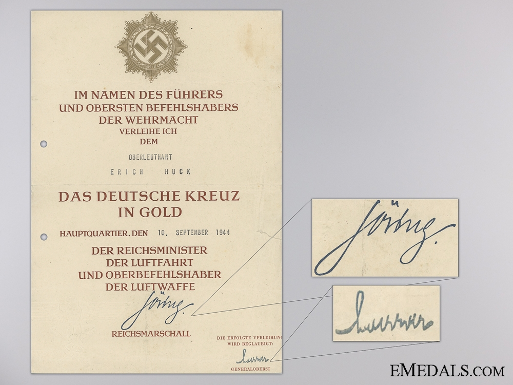 A German Cross Award Document to Reconnaissance Squadron