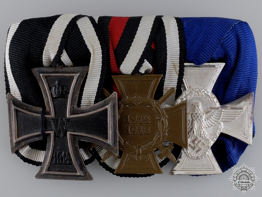 A First War German Medal Bar with Police Service