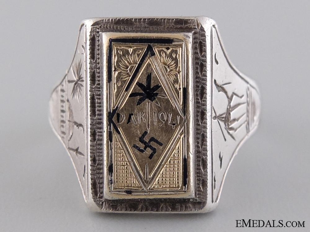 A Large & Fine Afrikakorps Silver & Gold Ring