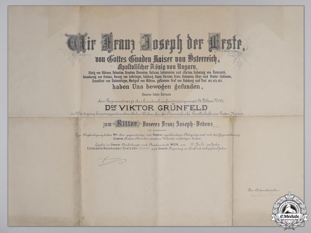 A Large Franz Josef Award Document to Regiment Doctor 1913