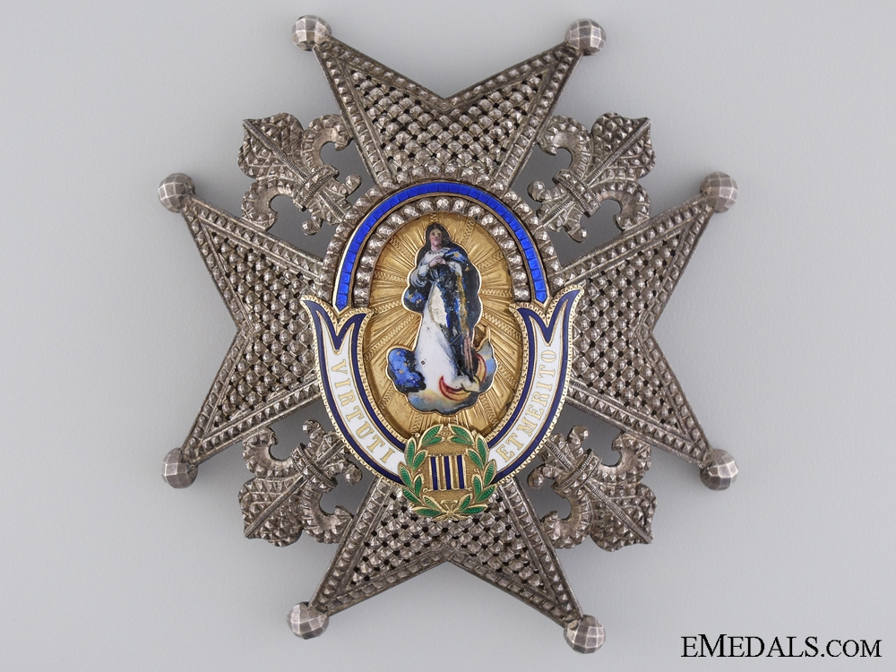 A Late 19th Century Order of Charles III; Breast Star