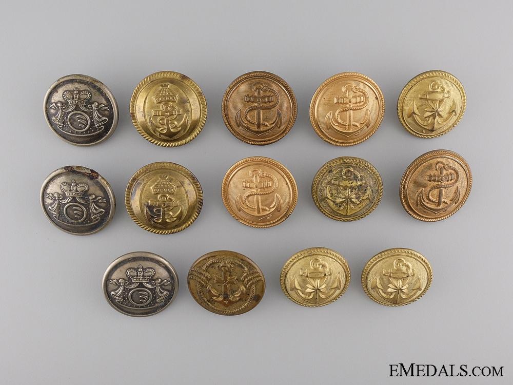 A Lot of Fourteen Austrian Naval Officer's Buttons c.1900