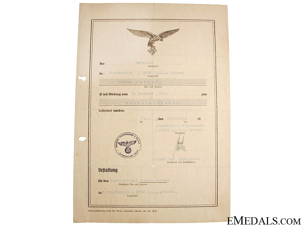 A Luftwaffe Promotion Document