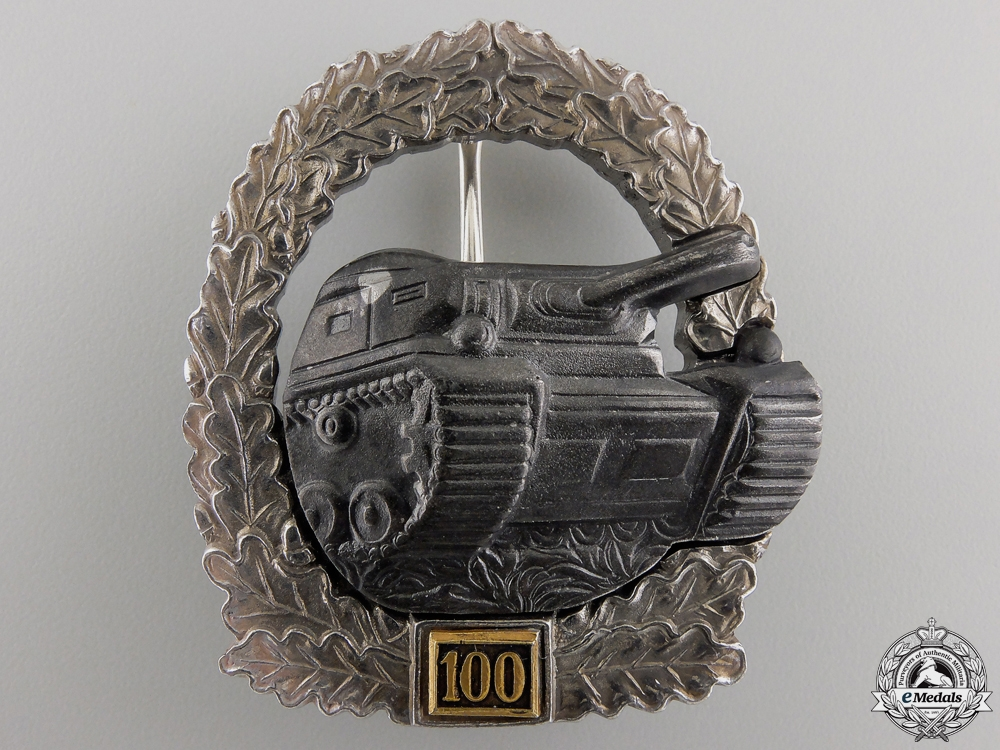 A Luftwaffe Tank Assault Badge 100; 1957 Version