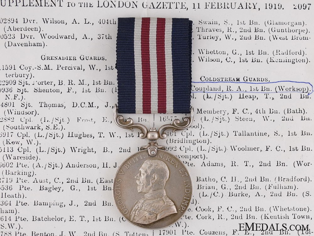 A Military Medal to the Coldstream Guards