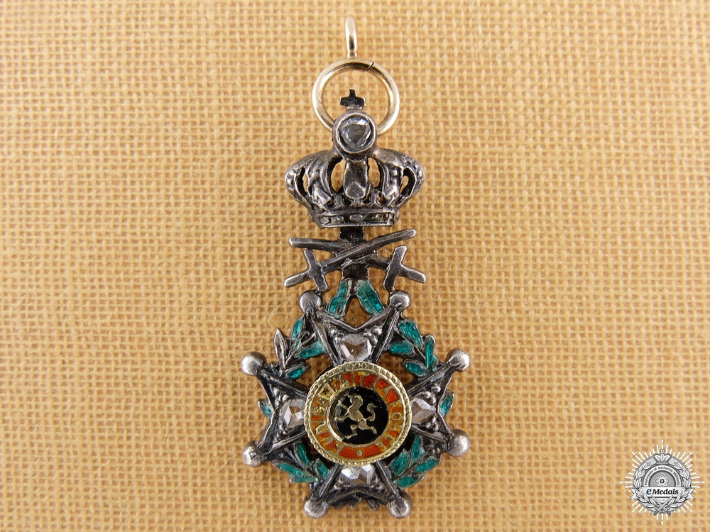 A Miniature Belgian Order of Leopold I in Gold with Diamonds