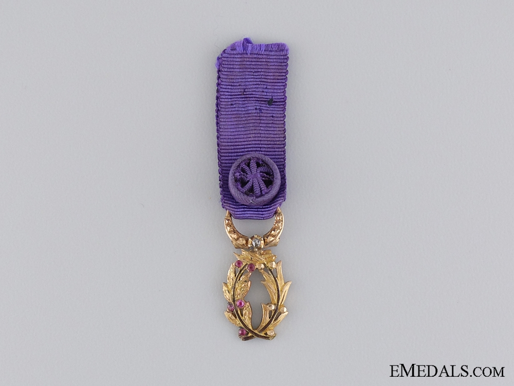 A Miniature French Officer of Public Education in Gold with Diamonds 1866-1955
