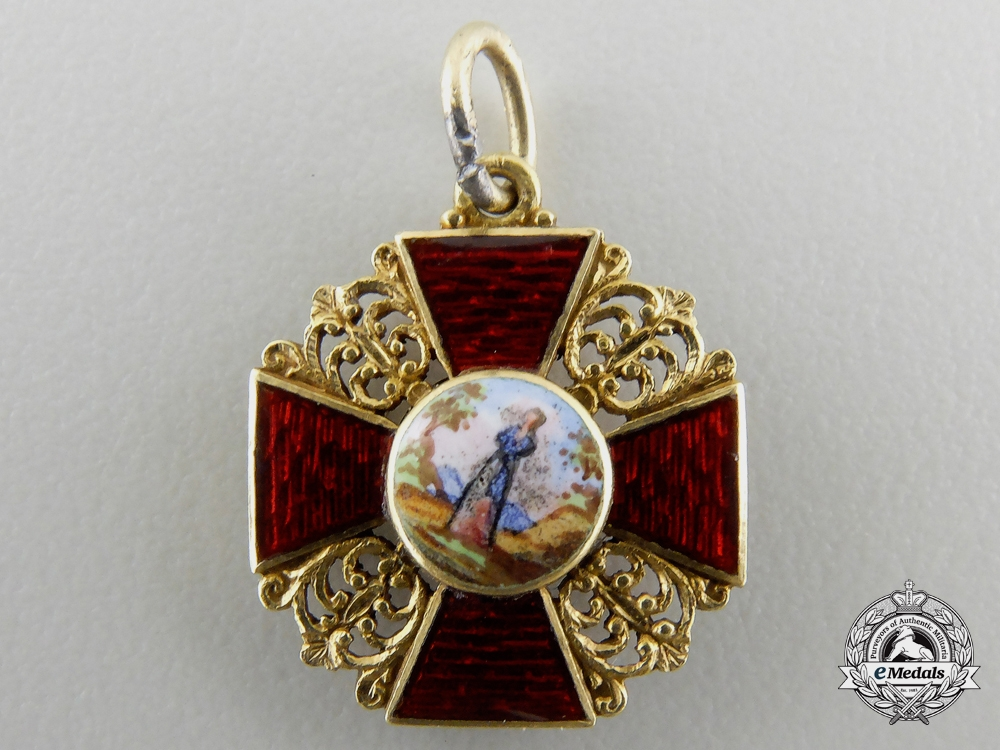 A Miniature Russian Imperial Order of St. Anne in Gold