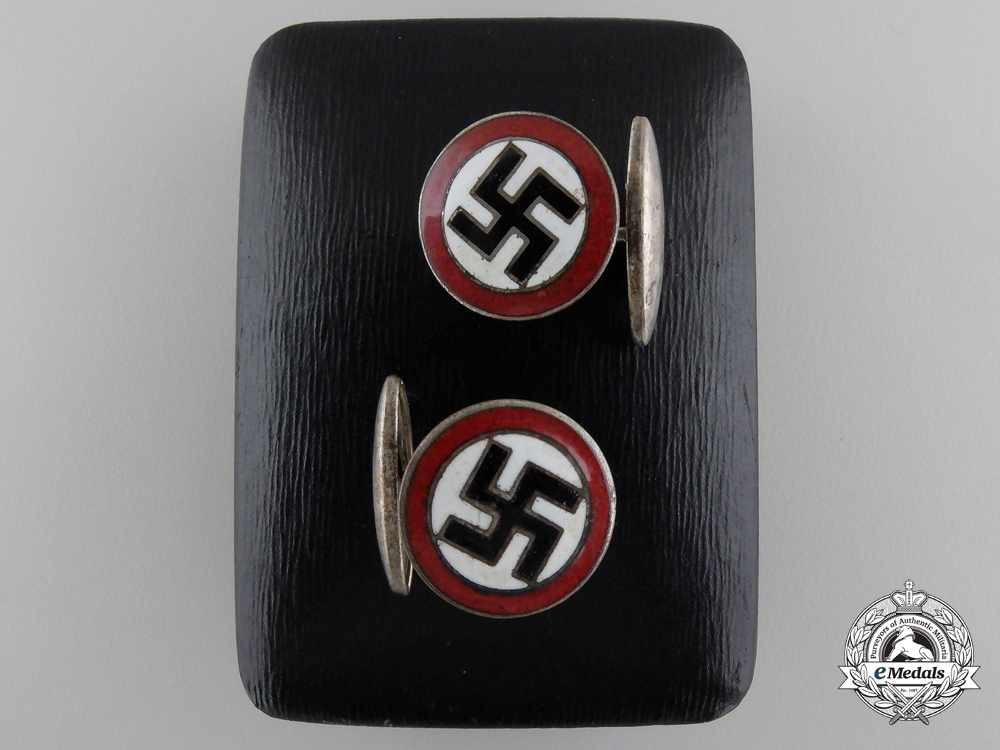 A Pair of NSDAP Cufflinks with Case