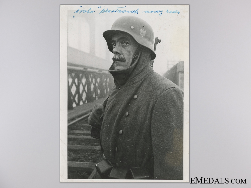 A Period Photograph; German Guard on a Railway Bridge in Bosnia