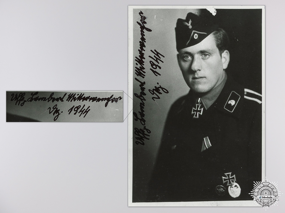 A Post War Signed Photograph of a Knight's Cross Recipient