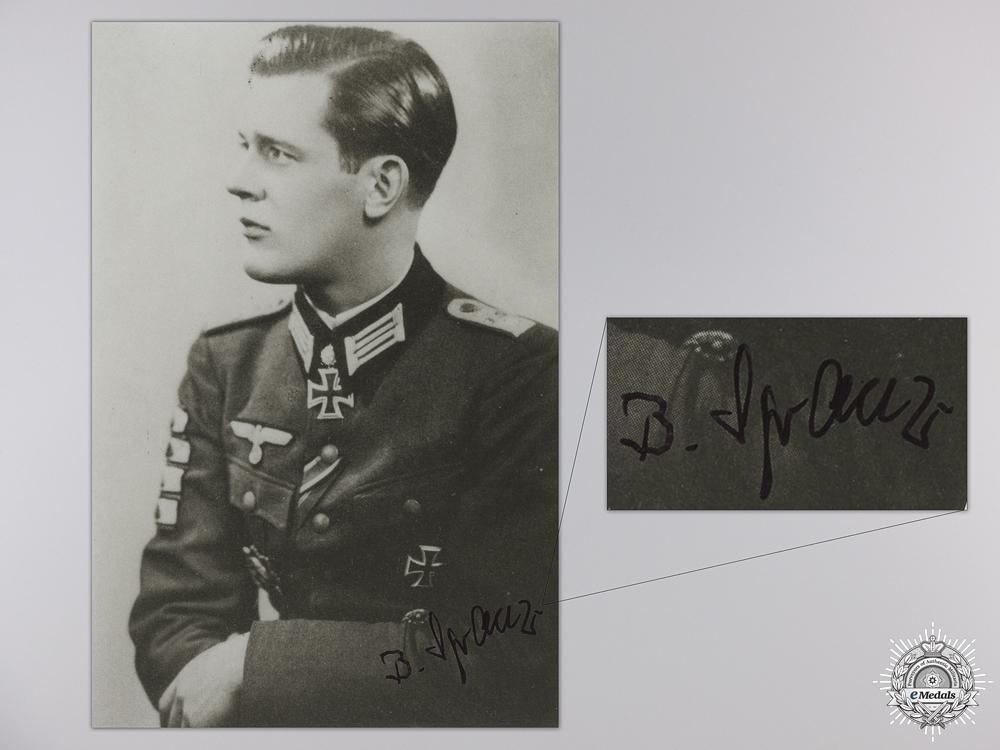 A Post War Signed Photograph of Knight's Cross Recipient; Bodo Spranz