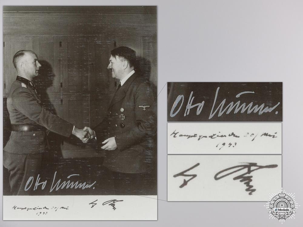 A Post War Signed Photograph of Knight's Cross Recipient; Otto Kumm