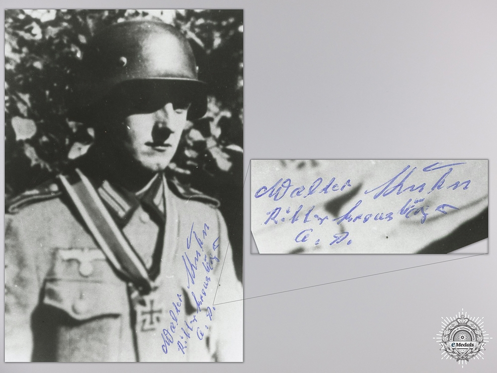 A Post War Signed Photograph of Knight's Cross Recipient; Walter Kuhn