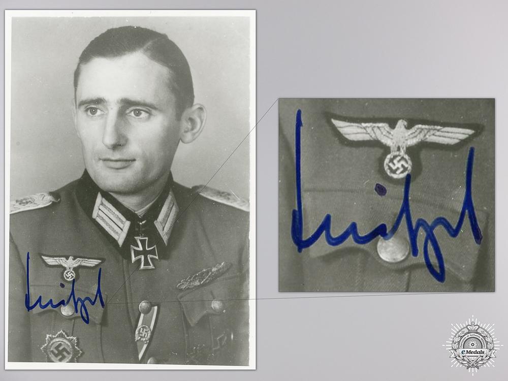 A Post War Signed Photograph of Knight's Cross Recipient; Helmut Meitzel